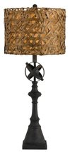 "Black Iron Lamp Drum Wicker Rattan Lampshade 33""H - $222.74"