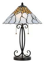 "Tiffany Stained Glass Table Lamp White Cream Gold Stained Glass Colors 24""H - £350.00 GBP"