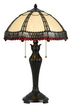 Tiffany Stained Glass Table Lamp Cream Red Crystal Stained Glass Colors ... - $514.79