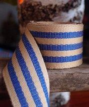 "AK-Trading 1.5"" inches x 10 Yards Blue Striped Faux Burlap Ribbon for De... - $21.51"