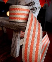 "AK-Trading 1.5"" inches x 10 Yards Orange Striped Faux Burlap Ribbon for ... - $21.51"