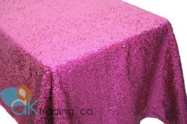 AK-Trading FUSCHIA Sequin Rectangular Tablecloth, Rain Drops Sequin Taff... - $97.95