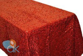 AK-Trading RED Sequin Rectangular Tablecloth, Rain Drops Sequin Taffeta Fabri... - $48.95