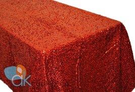AK-Trading RED Sequin Rectangular Tablecloth, Rain Drops Sequin Taffeta Fabri... - $137.15