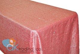 AK-Trading CORAL Sequin Rectangular Tablecloth, Rain Drops Sequin Taffeta Fab... - $58.75