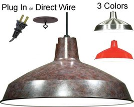 3 Colors (Bronze, Nickel, Red) - PLUG IN or DIRECT WIRE Metal Swag Lamp ... - $49.49