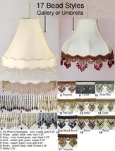 """Victorian Swag Lamp 16"""" Wide, GALLERY or UMBRELLA Shades, 17 Beaded Frin... - $287.09"""