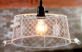 "Ivory Chicken Wire Basket Swag Lamp 12""H With Handles Antique Vintage Pr... - $59.39"