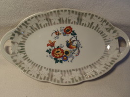 GERMAN POTTERY 2 HANDLE DISH PLATE GERMANY COLO... - $14.99