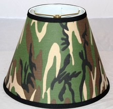 "Camouflage Tapered Cone Empire Lamp Shade 3 Sizes 12-18"" Wide USA Made b... - $49.49"