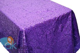 AK-Trading PURPLE Sequin Rectangular Tablecloth, Rain Drops Sequin Taffe... - $107.75