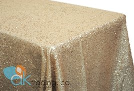 AK-Trading CHAMPAGNE Sequin Rectangular Tablecloth, Rain Drops Sequin Taffeta... - $58.75