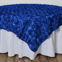 "72x72"" Raised Roses Floral Square Table Overlay - Royal Blue - $24.45"