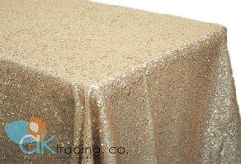 AK-Trading CHAMPAGNE Sequin Rectangular Tablecloth, Rain Drops Sequin Taffeta... - $39.15