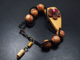 Woman's murano glass leather bracelet Boho brown wood jewelry Free shipp... - $27.00