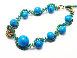 Woman's turquoise bracelet Blue bangle jewelry Free shipping handmade gift - $22.00