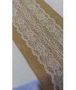 Burlap & Lace Table Runner (Ivory Lace, 12x120 Inches) - $11.61