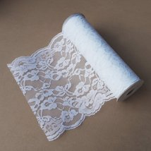 White Lace Ribbon Floral Trim Patterned 14-inch, 10 Yards - $19.11