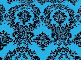 Taffeta Flocking Damask Turquoise 58 Inch Fabric By the Yard (F.E.) - $3.91