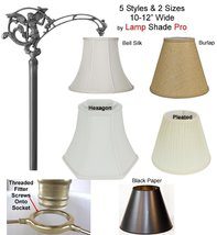 Uno Lamp Shades for Floor Lamps w/Threaded Screw On Socket Fitter, 5 Sty... - $49.49