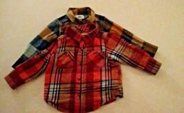 Old Navy Baby Boys 2 Plaid Shirts Size 12-18 Months Orange Yellow  - $16.95