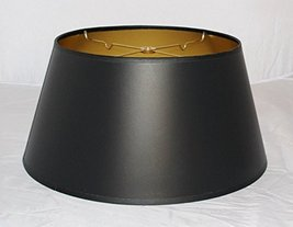 Satin Black Paper Lamp Shade Bouillotte Shape USA American Made by Lamp ... - $79.19