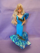 "Barbie Doll Shimmering Aqua Blue Dress Blonde Hair 11 1/2""  - $9.29"