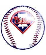 "Philadelphia Phillies Embossed Metal 12"" Baseball Circle Sign - $7.95"