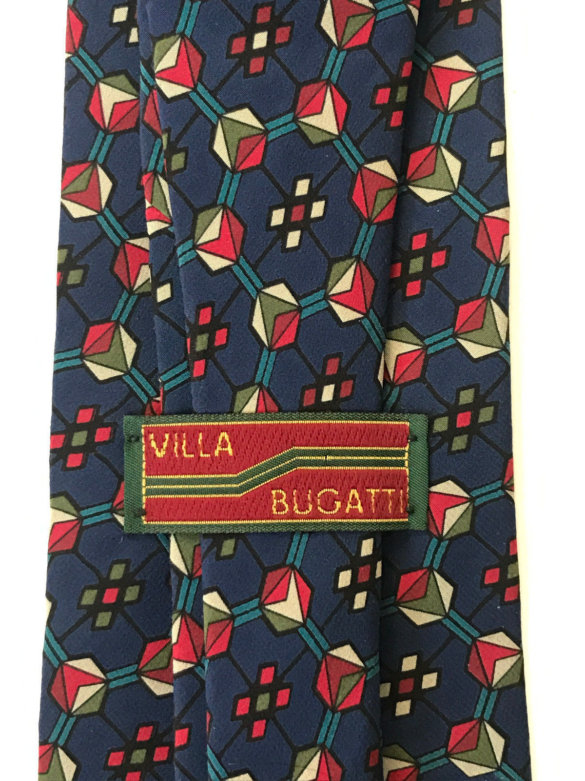 Villa Bugatti Silk Neck Tie Blue Geometric Circles
