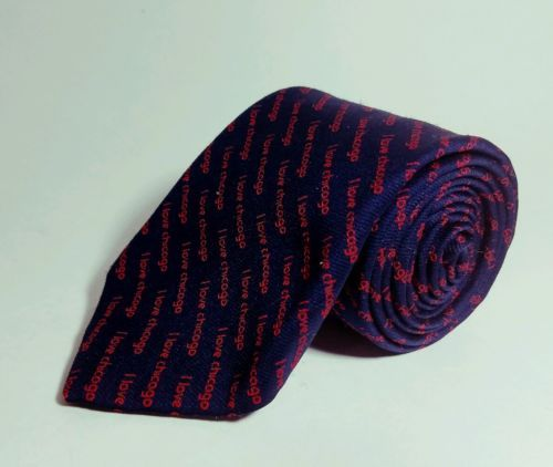"Men's Tie ""I LOVE CHICAGO"" Exclusive Design By Besley's INC.- 100% Polyester 57"""