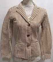 CAbi #176 Women Work Career Long Sleeve Pocket Brown Stripe Blazer Jacke... - $29.99
