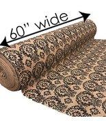 "AK TRADING - 60"" Wide - Damask Print Burlap Jute Fabric For DIY Crafts, ... - $9.75"