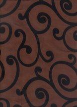 Flocked Brown Taffeta Swirls Print Fabric By the Yard - $3.93