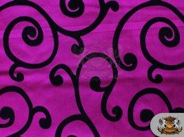 "Taffeta Flocking Swirl Fabric FUCHSIA / 58"" Wide / sold by the yard - $3.14"