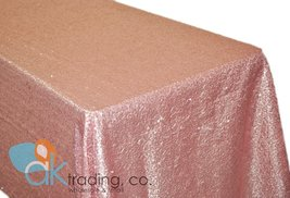 AK-Trading BLUSH PINK Sequin Rectangular Tablecloth, Rain Drops Sequin Taffet... - $58.75