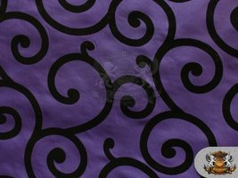 "Taffeta Flocking Swirl Fabric PURPLE / 58"" Wide / sold by the yard - $5.18"