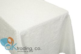 AK-Trading WHITE Sequin Rectangular Tablecloth, Rain Drops Sequin Taffeta Fab... - $48.95