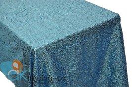 AK-Trading TURQUOISE Sequin Rectangular Tablecloth, Rain Drops Sequin Taffeta... - $48.95