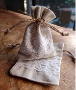 """AK-Trading 3"""" x 4"""" Linen Favor Pouch Gift Bag with Lace Decor - Pack of 12 - $21.51"""