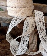 """AK-Trading 1"""" wide x 25 yards Ivory Floral Pattern Lace Ribbon for Decor... - $8.77"""