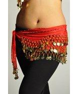 Belly Dance Chiffon Wavy Design Training Hip scarf Red-Gold - NC (158 co... - $2.93