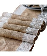 """Burlap & Side Lace Table Runner - 2"""" Lace (Ivory Lace, 12""""x108"""") - $11.71"""