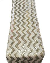 """AK-Trading 14"""" x 108"""" Chevron Sequin Table Runners (Gold-Ivory) - $24.45"""