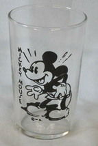 """Walt Disney 1936 Small Image Dairy Glass 3 1/4"""" tall Mickey Mouse - $30.58"""