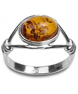 Light Honey Amber Sterling Silver Oval Stone Classic Ring Size 7 - $62.64