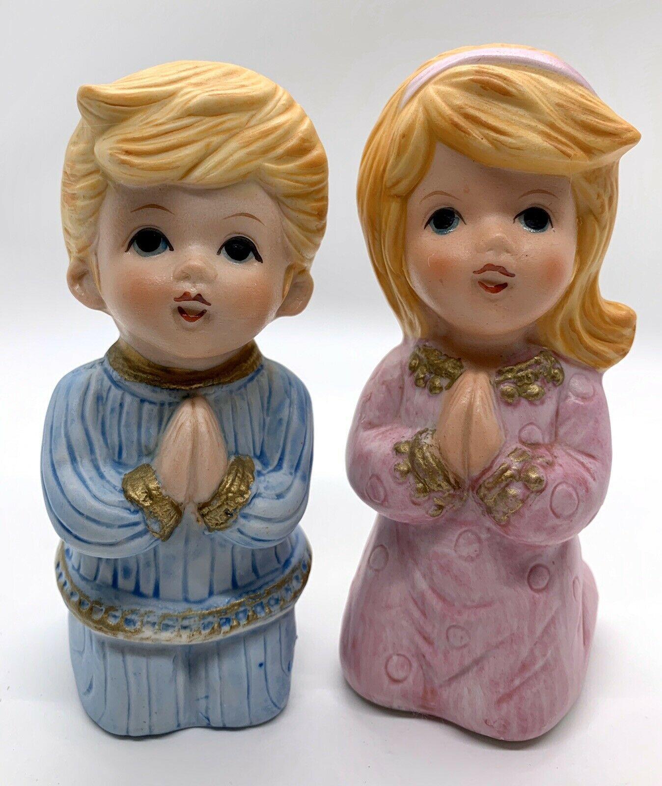 Vintage Homco Children Boy & Girl Kneeling  Praying Porcelain Figurines #5211 - $5.94