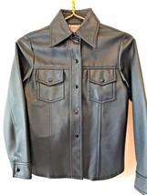Vintage Midcentury Twixteen Dark Blue Faux Leather Snap Girls Jacket siz... - $26.95