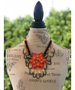 Folk Native Colorful Handmade Colombian Embera Tribal Necklace Long Flor... - $55.00