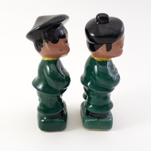 Pair of Asian Children Figurines Dressed in Green and Black Japan image 4