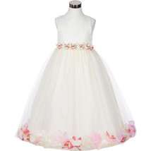 Ivory Satin Bodice Floating Baby Pink Flower Petals Layer Tulle Skirt Girl Dress - $37.95+